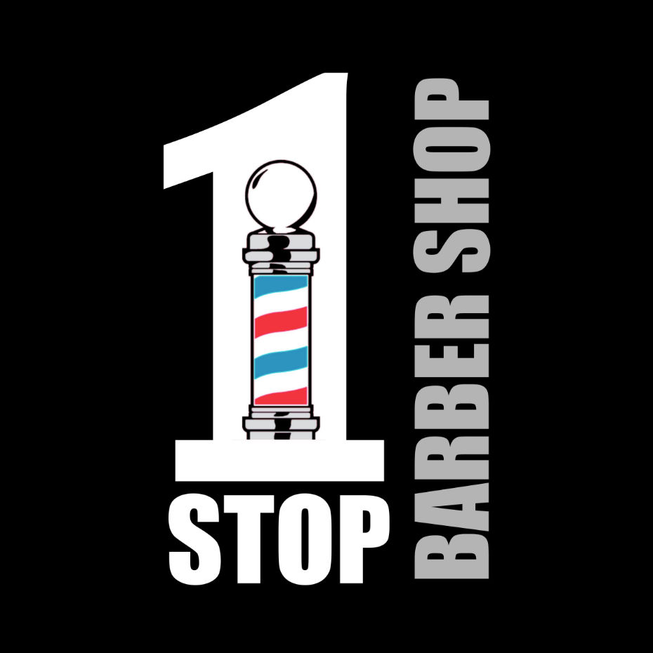 1 Stop Barber Shop Franchise Logo